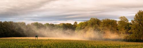 Über den Feldern aufziehender Nebel
