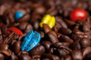 Bunte Kaffebohnen